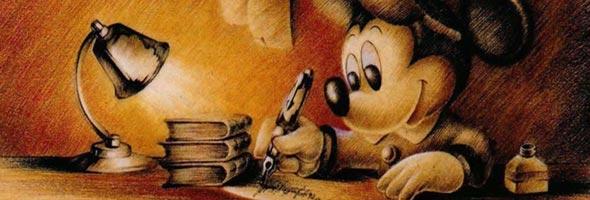 Mickey Mouse escrevendo.