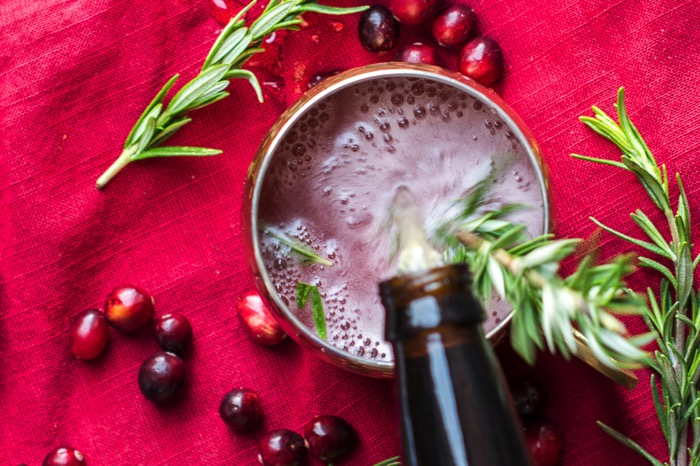 Rosemary Cranberry Moscow Mule with ginger beer