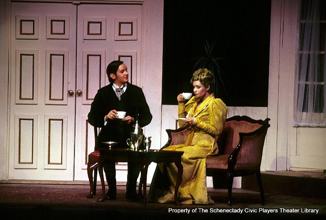 Bruce Hallenbeck and Joanne Westervelt in LADY WINDERMERE'S FAN - January/February 1976.  Property of The Schenectady Civic Players Theater Archive.