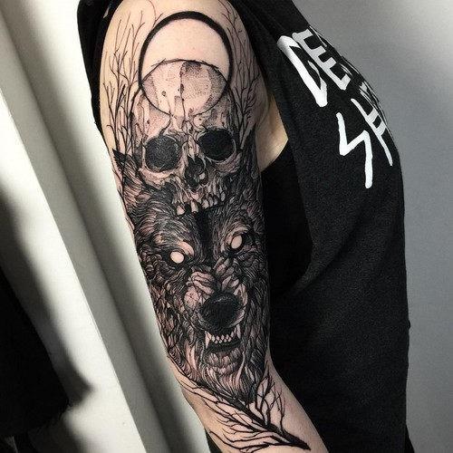 este_lobo_vicioso_e_crnio_tatuagem