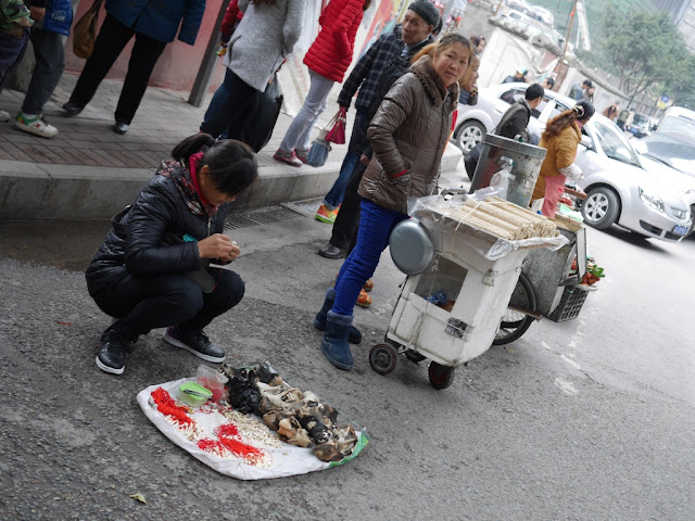 woman selling wolf-dog teeth and heads in Chongqing