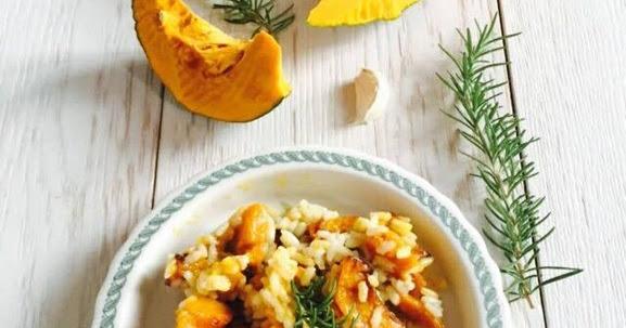 Riso e zucca arrostita con rosmarino e aglio