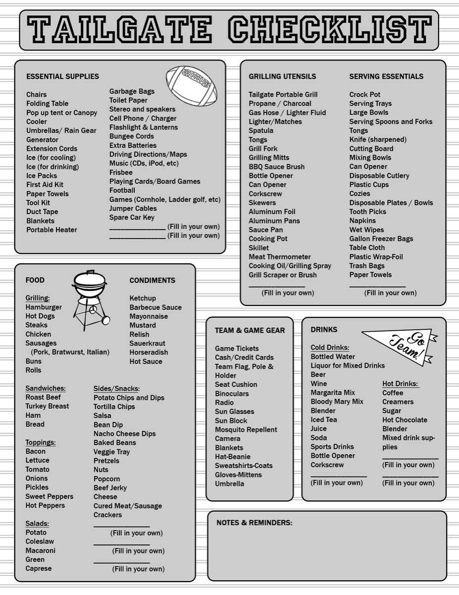 Tailgate Checklist