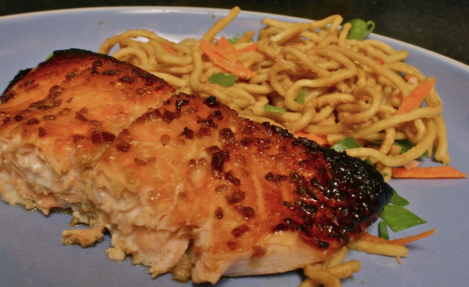 won Amanda over with this salmon. Paired with the peanut noodles ...