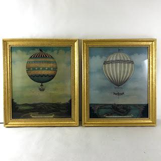 Pair of Vintage Dirigible Prints in Gilded Frames