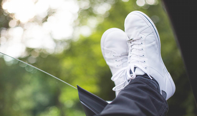 Chilling Out With White Sneakers On Free Image Download