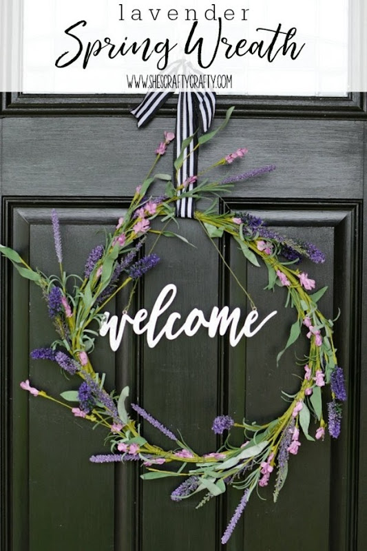 Lavender Spring Wreath, faux flowers, front door wreath