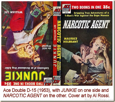 JUNKIE & NARCOTIC AGENT, Ace Double D-15 (1953). Art by Al Rossi