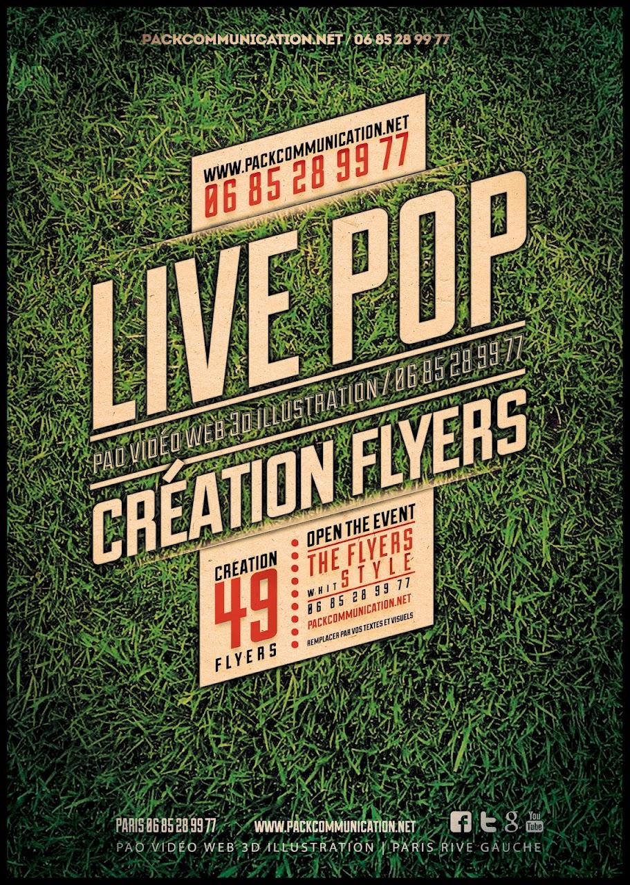 création flyers soirées thème Live Pop