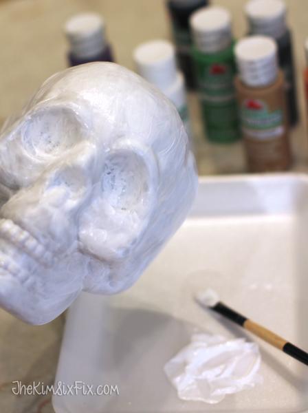Painting dollar store skull