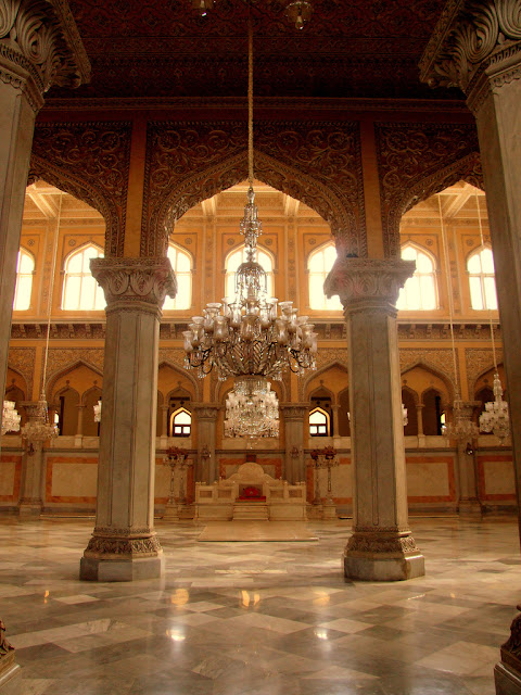 The darbar room of the Asif Jahi Chaumahalla palace complex