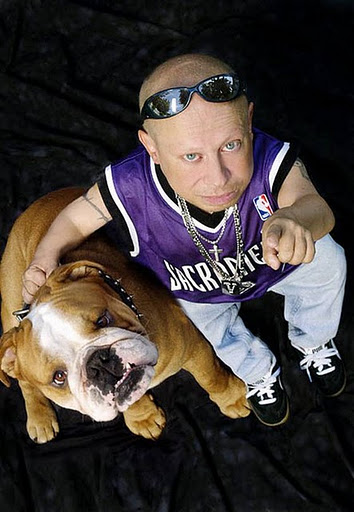 Verne Troyer and his bulldog Banana