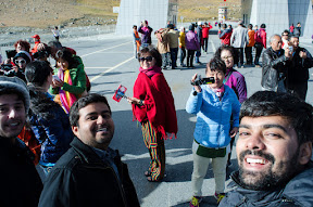 Feeling excited at Khujrab pass with Chinese.