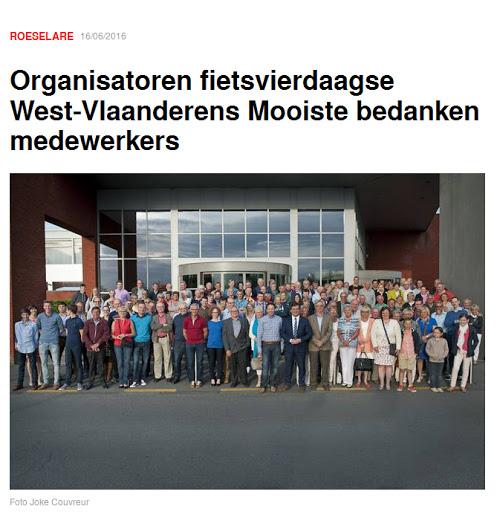 Medewerkersfeest West-Vlaanderens Mooiste 2016, artikel in HLN.be/Roeselare