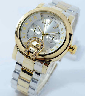 Jual jam tangan Aigner date chrono variasi kombi gold