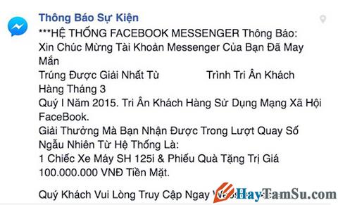 Tin nhắn giả mạo thông báo trúng thưởng của Facebook