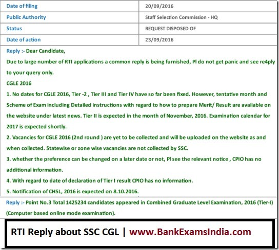 SSC CGL RTI reply, SSC CGL Tier II exam dates, SSC CGL vacancies,SSC CGL number of candidates