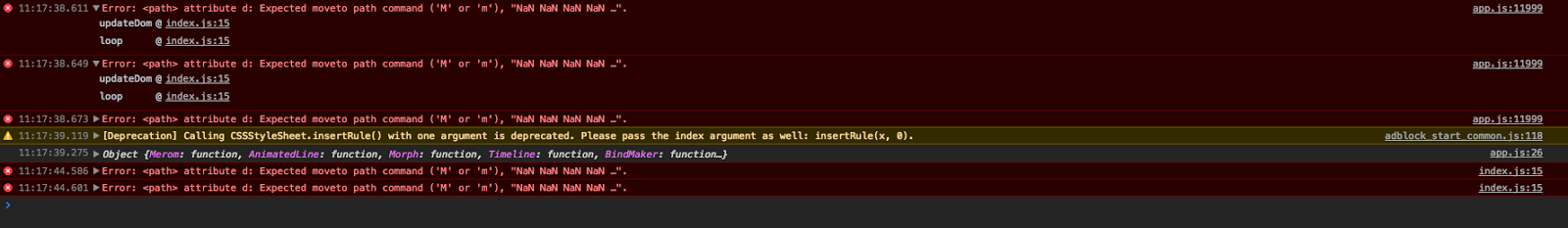 es6 with svg morphing: Error: <path> attribute d: Expected