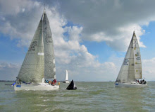 J/109s rounding mark on Solent- sailing Hamble Winter Series