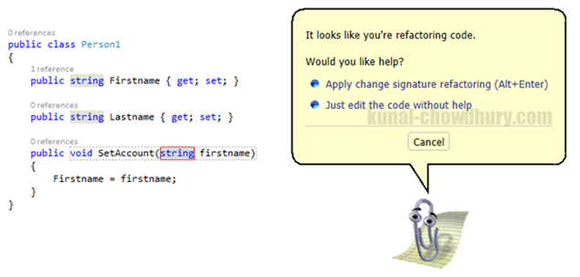 Clippy for ReSharper while refactoring code (www.kunal-chowdhury.com)