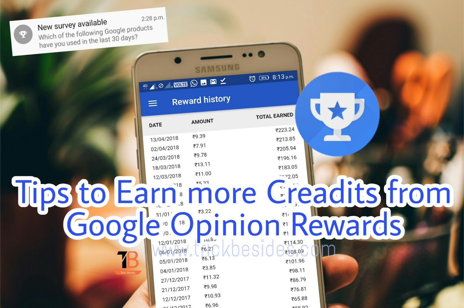 Tips to Earn more Play Store Credits with Google Opinion Rewards