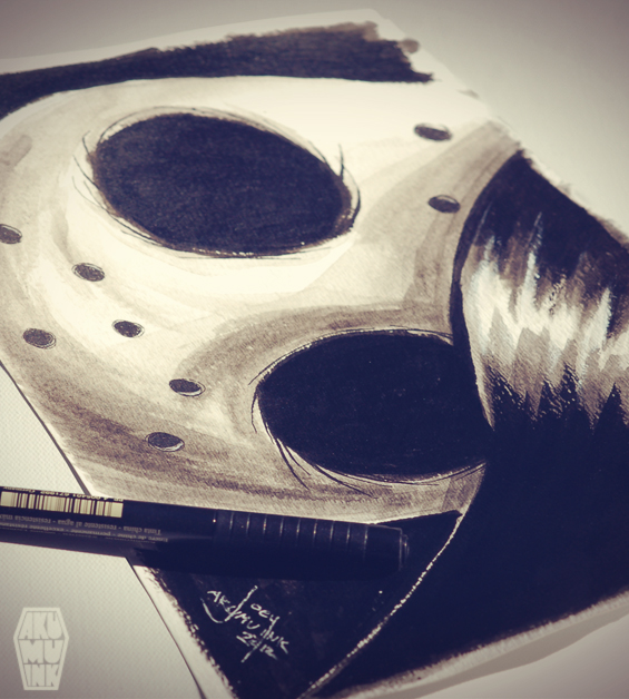horror watercolour, horror water color, horror watercolor, horror pen and ink, horror art, horror greyscale art, scary art, comiccon hockey mask art, hockey mask art, goth watercolour