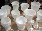 Collection of milk glass planters