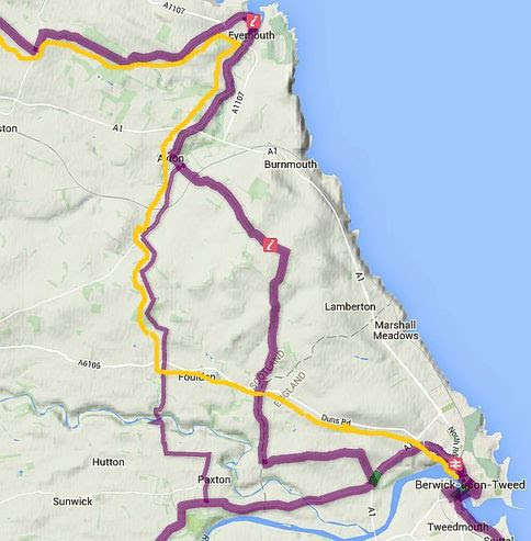 Sustrans: cycle map north of Berwick-upon-Tweed