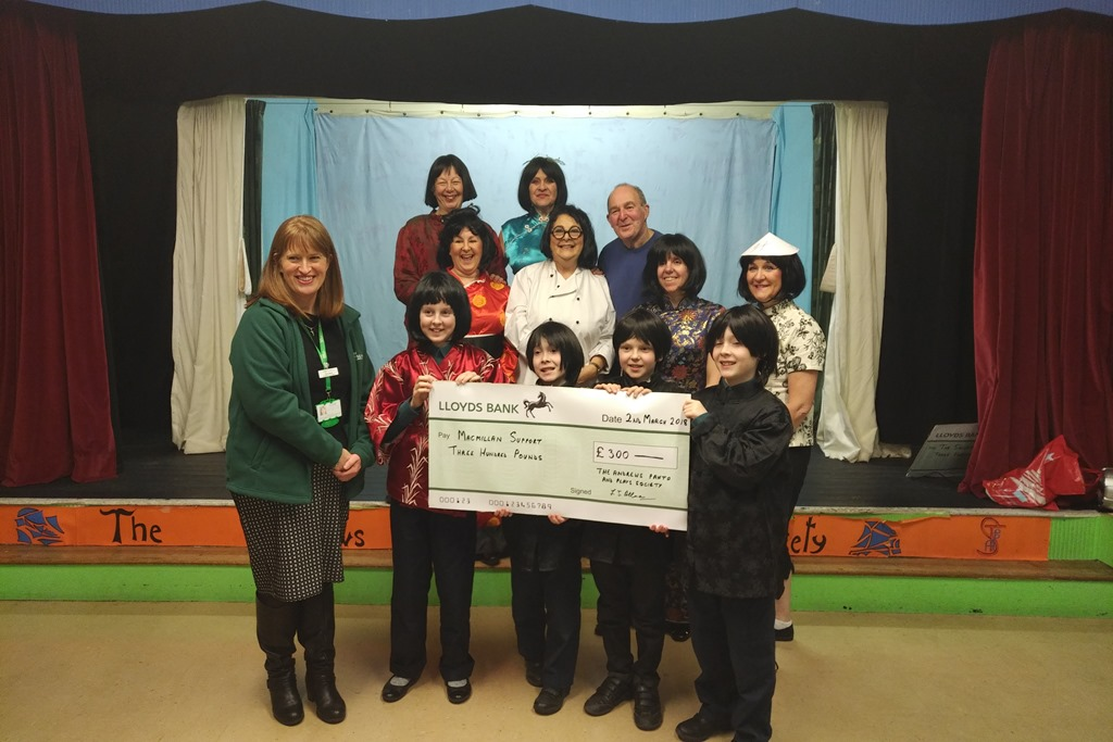 [TAPPS+2018+panto+present+a+cheque++to+Clare+Bloor+from+Macmillan+Cancer+Support%5B3%5D]