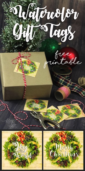 Free printable christmas gift tags with watercolor wreaths