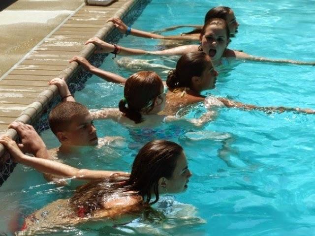 Cousins in Backyard Pool