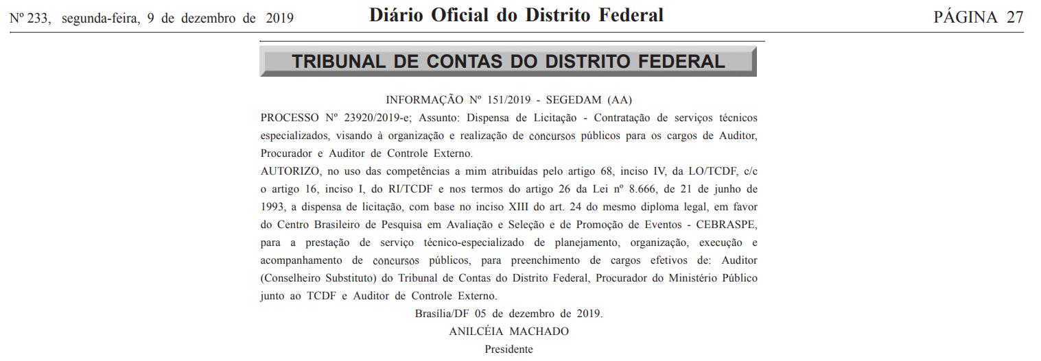 Concurso TCDF: Banca Definida