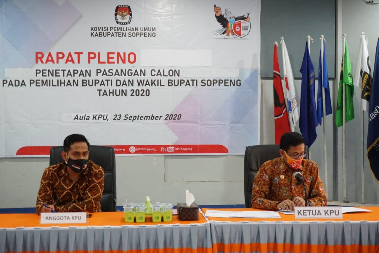 Memenuhi Syarat, KPU Soppeng Tetapkan AKAR-LHD sebagai Paslon di Pilkada Soppeng Tahun 2020