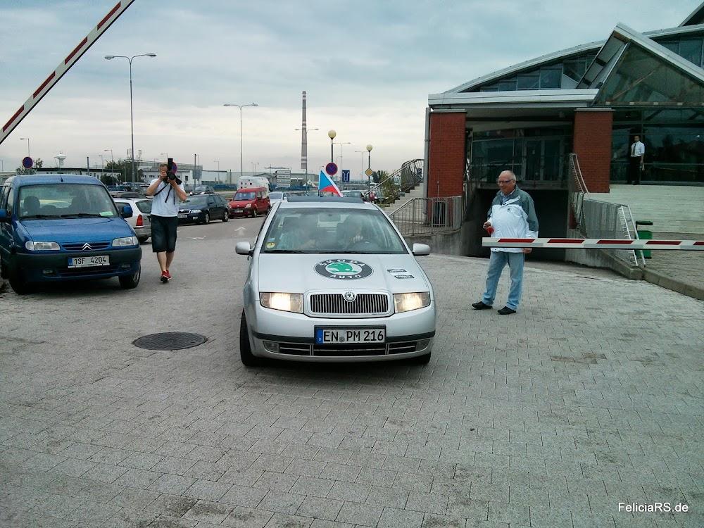 Ankunft unseres Kilometerkönigs auf dem Parkplatz in Mladá Boleslav