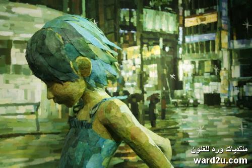 منحوتات مجسمة تكمل اللوحة فى اعمال الفنان Shintaro Ohata