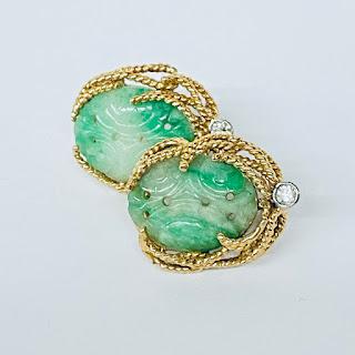 14K Gold, Diamond, and Jade Clip Earrings