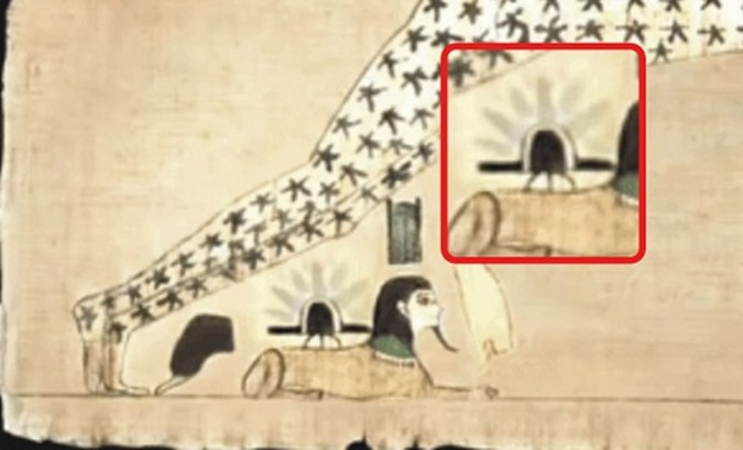 Papiro egípcio antigo mostra desembarque de um OVNI 02