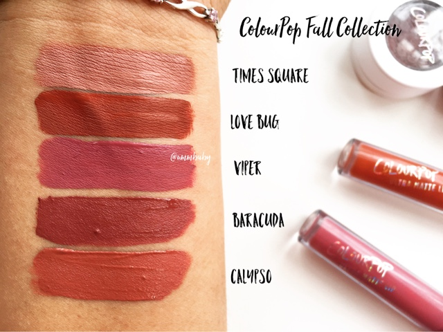 colourpop ultra matte and ultra satin lips swatches nc40
