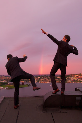 Photo of Brian (left) and Mark Canlis, on Canlis rooftop. [photo by Chris Matthews for Brian Canlis]
