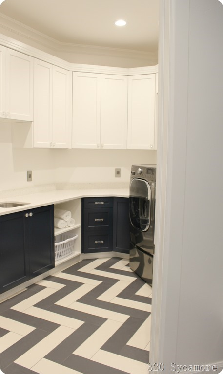 blue cabinets in laundry room