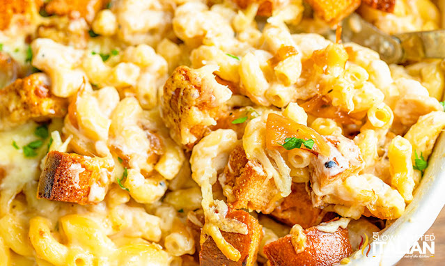 casserole dish of french onion mac and cheese