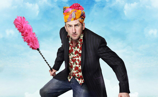 Lee Mack on a Cloud (as though in a panto)