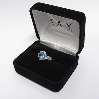 Sterling Silver and Clear and Blue Stone Ring