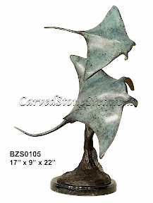 Bronze, Manta, Rays, Statue