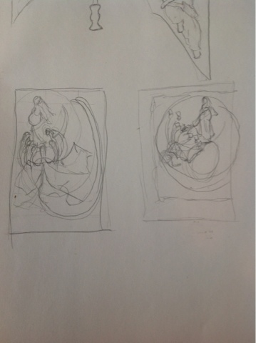 Thumbnail sketches for Woman and the Dragon