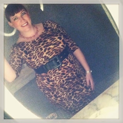 leopard print wiggle dress styled for bbw plus size pin up style body