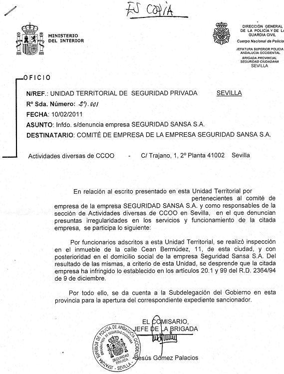 Secci n sindical securitas barcelona denuncia de for Pagina de ministerio de seguridad