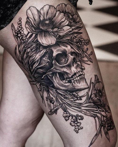 este_lindo_floral_tatuagem_de_caveira