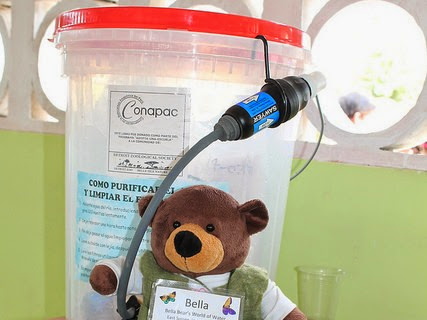 Tiny Bear Explores Big Questions in the Amazon! Learned about how CONAPAC, a Peruvian NGO is helping to provide clean water to schools and families in remote Amazon villages.