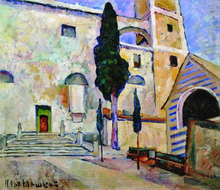 Ilya Mashkov - Cypress in the cathedral walls. Italy, 1913